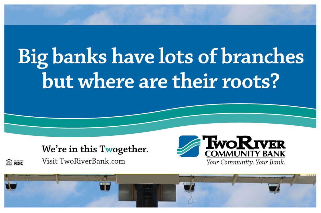Billboard for Two River Cmmunity bank